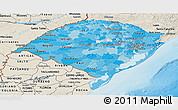 Political Shades Panoramic Map of Rio Grande do Sul, shaded relief outside