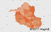 Political Shades Map of Rondonia, single color outside