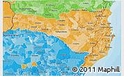 Political Shades 3D Map of Santa Catarina