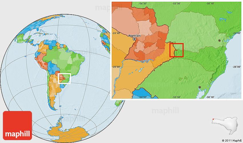 Guarujá do Sul Santa Catarina fonte: maps.maphill.com