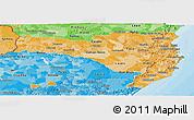 Political Shades Panoramic Map of Santa Catarina