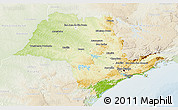 Physical 3D Map of Sao Paulo, lighten