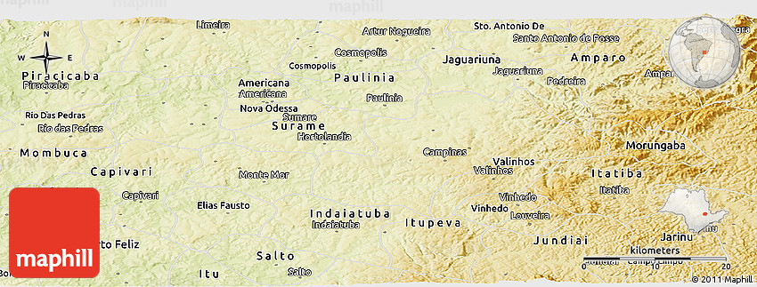 Physical Panoramic Map Of Campinas - Campinas map