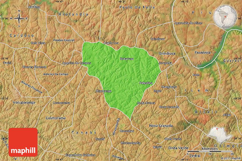 Palestina São Paulo fonte: maps.maphill.com
