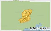 Savanna Style 3D Map of Sao Jose Do Barr, single color outside