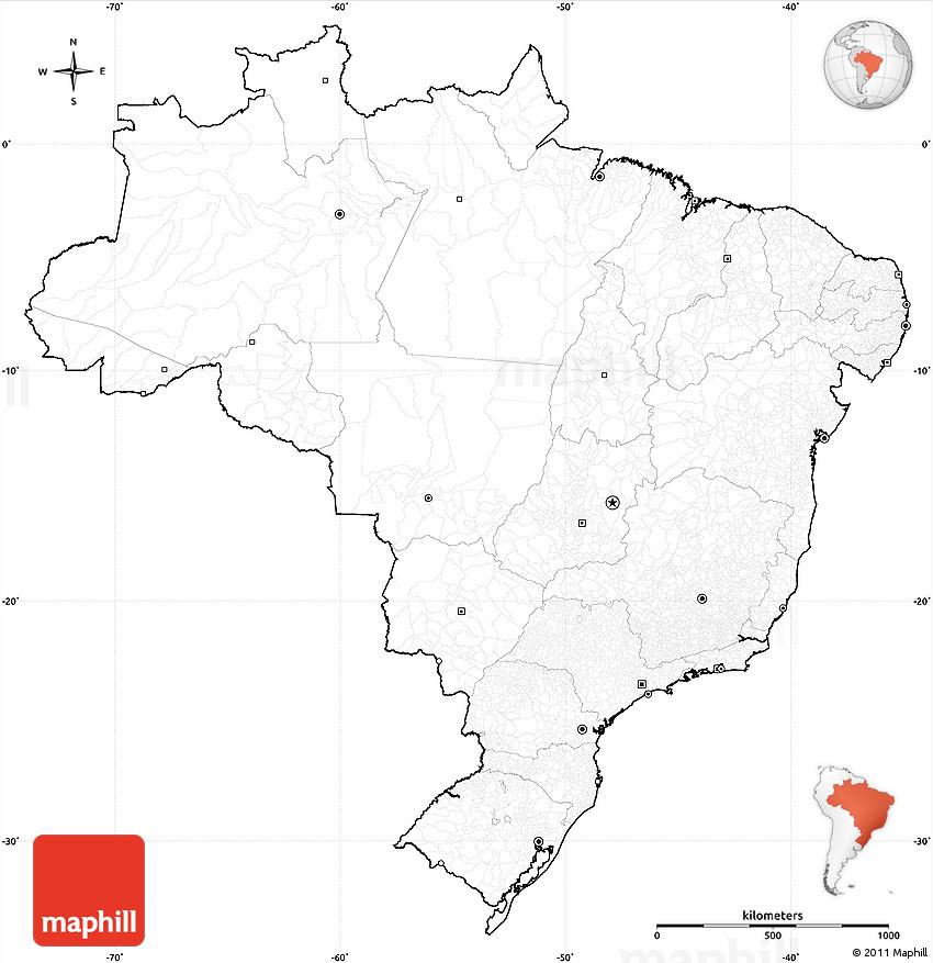 Brazil Provinces Outline Blank Simple Map Similiar