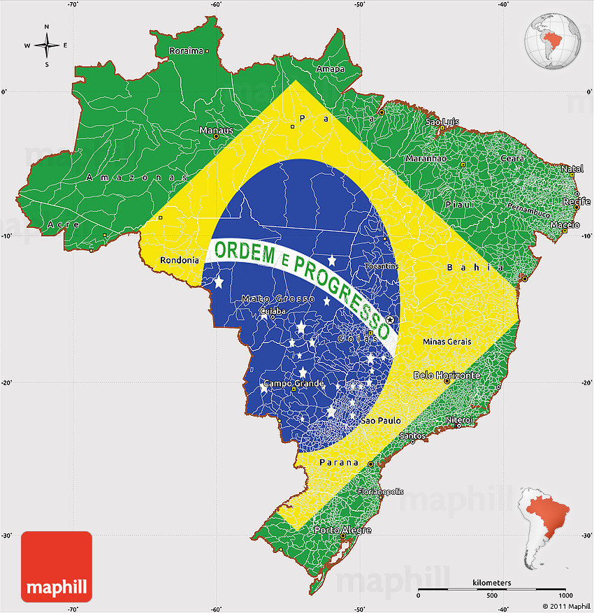 Flag Simple Map Of Brazil - Brazil map