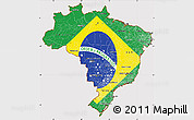 Flag Simple Map of Brazil