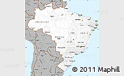 Gray Simple Map of Brazil