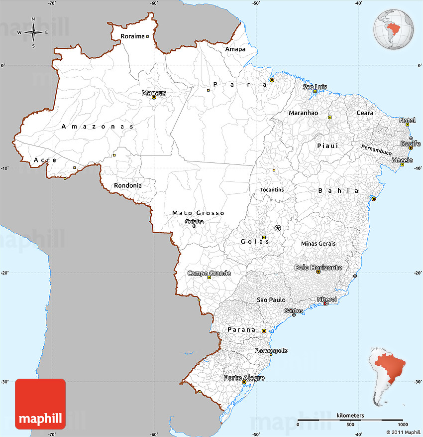 Gray Simple Map Of Brazil Single Color Outside - Political map of brazil