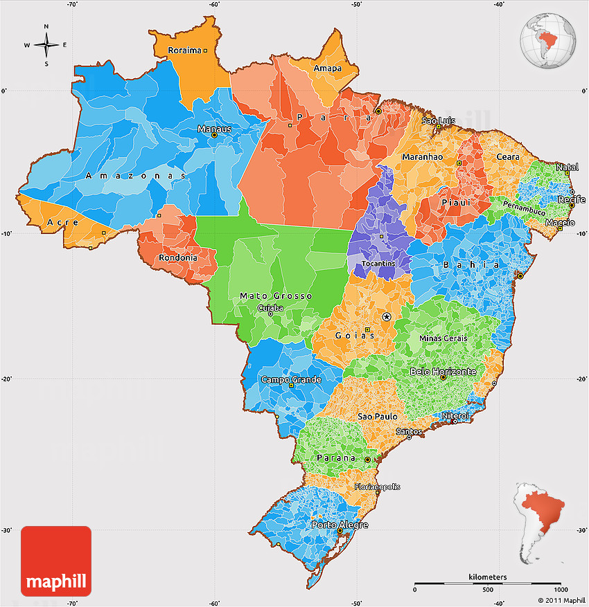 Political Simple Map Of Brazil Cropped Outside - Brazil political map