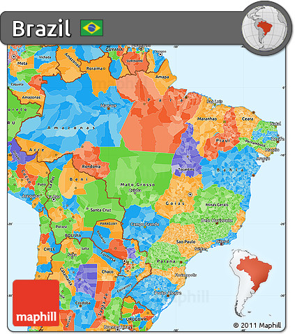 Free Political Simple Map Of Brazil - Political map of brazil