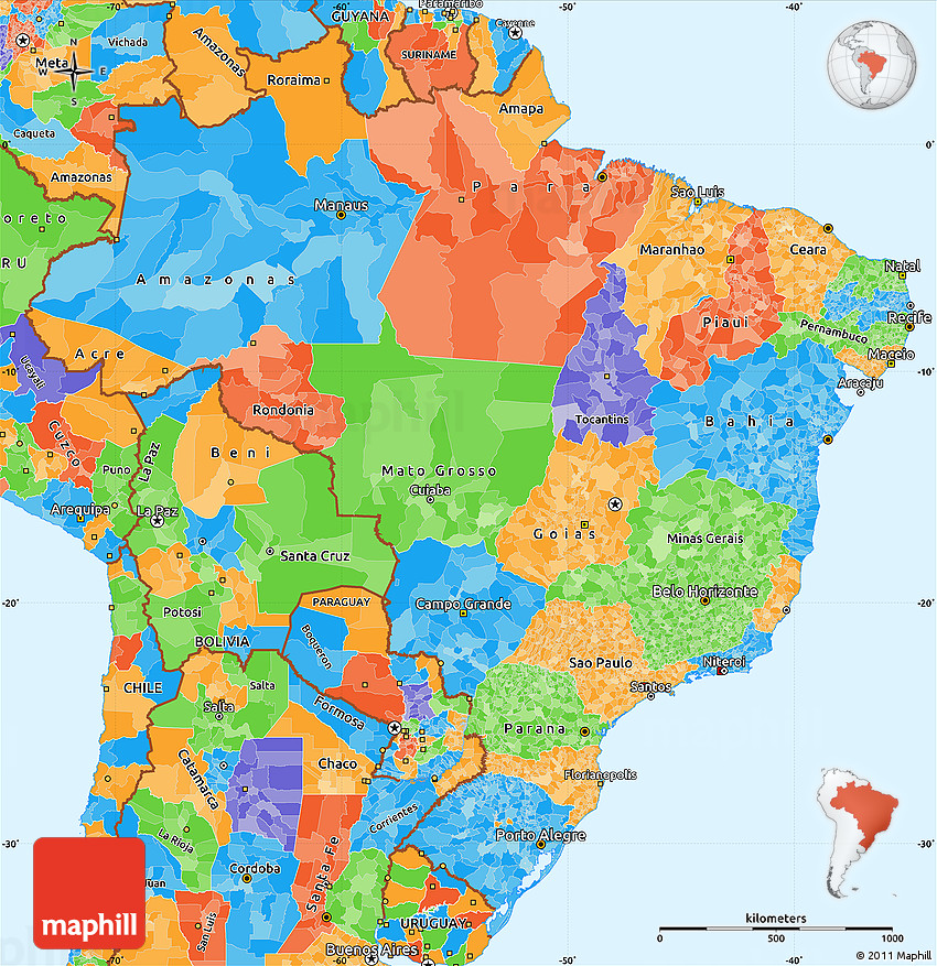 Political Simple Map Of Brazil - Brazil political map