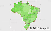 Political Shades Simple Map of Brazil, cropped outside