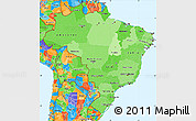 Political Shades Simple Map of Brazil, political outside