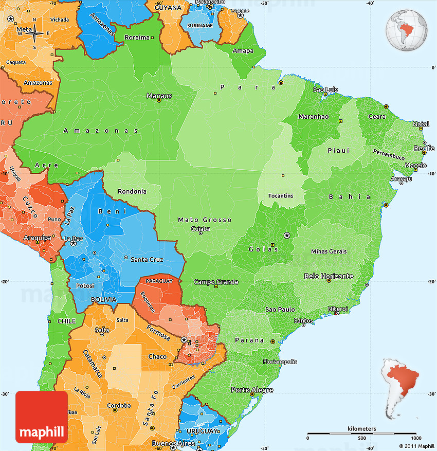 Political Shades Simple Map Of Brazil - Political map of brazil