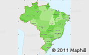 Political Shades Simple Map of Brazil, single color outside