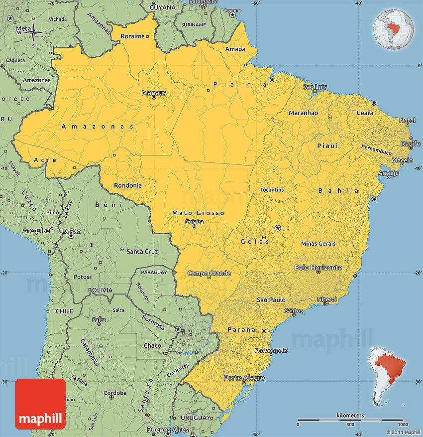 Savanna Style Simple Map of Brazil