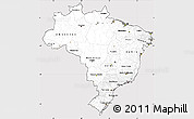 Silver Style Simple Map of Brazil, cropped outside