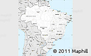 Silver Style Simple Map of Brazil