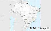 Silver Style Simple Map of Brazil, single color outside