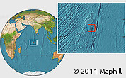 Physical Location Map of British Indian Ocean Territory, satellite outside