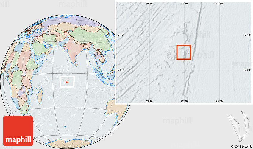 Political Location Map of British Indian Ocean Territory lighten