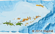 Political Shades 3D Map of British Virgin Islands, satellite outside, bathymetry sea