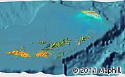 Satellite 3D Map of British Virgin Islands, political shades outside, satellite sea