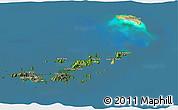 Satellite 3D Map of British Virgin Islands, semi-desaturated, land only