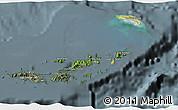Satellite 3D Map of British Virgin Islands, semi-desaturated