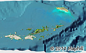 Satellite 3D Map of British Virgin Islands, shaded relief outside, satellite sea