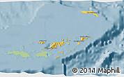 Savanna Style 3D Map of British Virgin Islands, single color outside