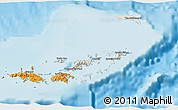 Shaded Relief 3D Map of British Virgin Islands, political outside, shaded relief sea