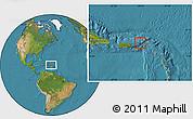 Flag Location Map of British Virgin Islands, satellite outside