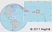 Gray Location Map of British Virgin Islands, hill shading inside