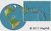Gray Location Map of British Virgin Islands, satellite outside
