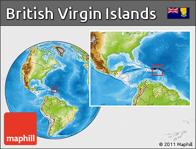Physical Location Map of British Virgin Islands, highlighted continent, within the entire continent