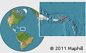 Satellite Location Map of British Virgin Islands, highlighted continent