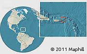 Satellite Location Map of British Virgin Islands, lighten, land only