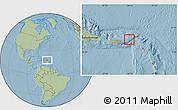 Satellite Location Map of British Virgin Islands, savanna style outside, hill shading