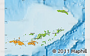 Physical Map of British Virgin Islands, political outside, shaded relief sea
