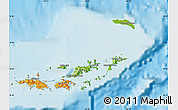Physical Map of British Virgin Islands, political shades outside, shaded relief sea