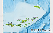 Physical Map of British Virgin Islands, satellite outside, shaded relief sea