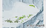 Physical Map of British Virgin Islands, semi-desaturated