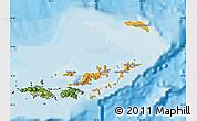 Political Map of British Virgin Islands, satellite outside, bathymetry sea