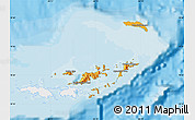 Political Map of British Virgin Islands, single color outside