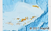 Political Shades Map of British Virgin Islands, shaded relief outside, bathymetry sea