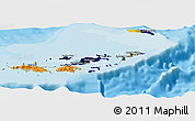 Flag Panoramic Map of British Virgin Islands, political outside