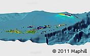 Flag Panoramic Map of British Virgin Islands, satellite outside